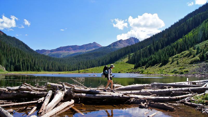 """Crossing the """"log jam"""" en route to Snowmass Lake; Colorado Elk Range"""