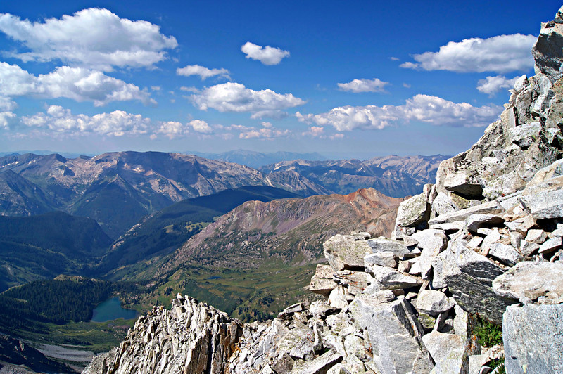 Looking down at Snowmass Lake from high on the Snowmass Mountain south ridge; Colorado Elk Range