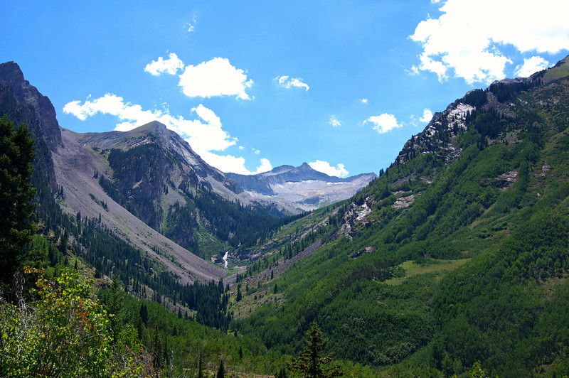 First view of the distant Snowmass Mountain from the Snowmass Creek trail; Colorado Elk Range