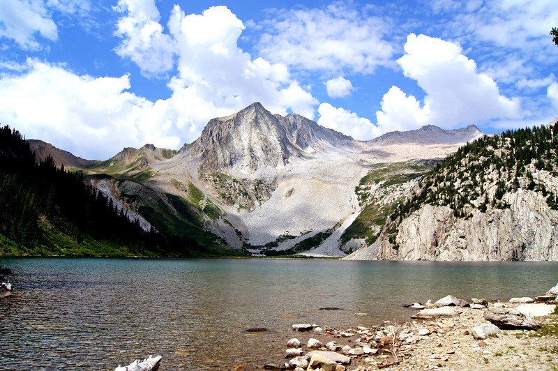 Snowmass Peak (center) and Snowmass Mountain (right) from Snowmass Lake; Colorado Elk Range