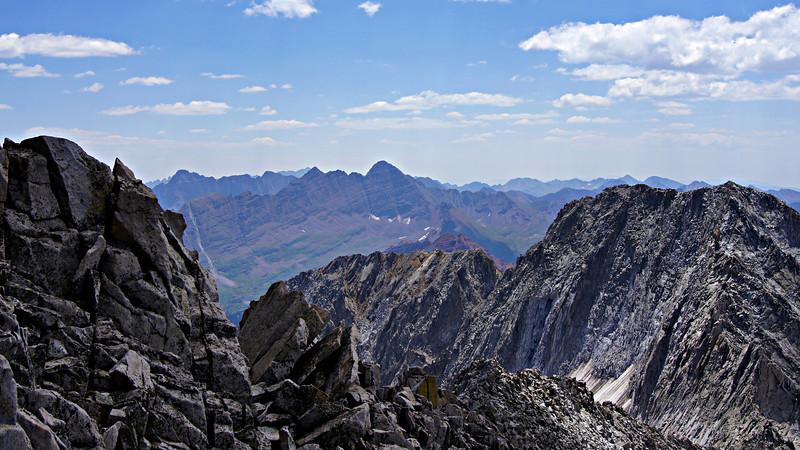 The Snowmass Mountain south ridge and Hagerman Peak frame the distant Maroon Bells; Colorado Elk Range