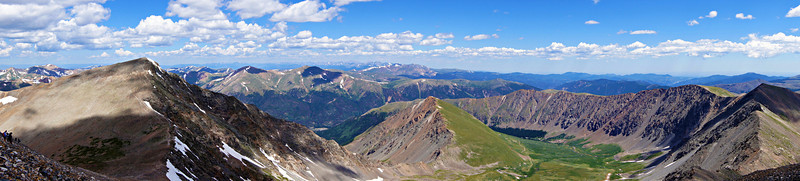Panoramic view of Torreys Peak and its northeast basin, Colorado Front Range.