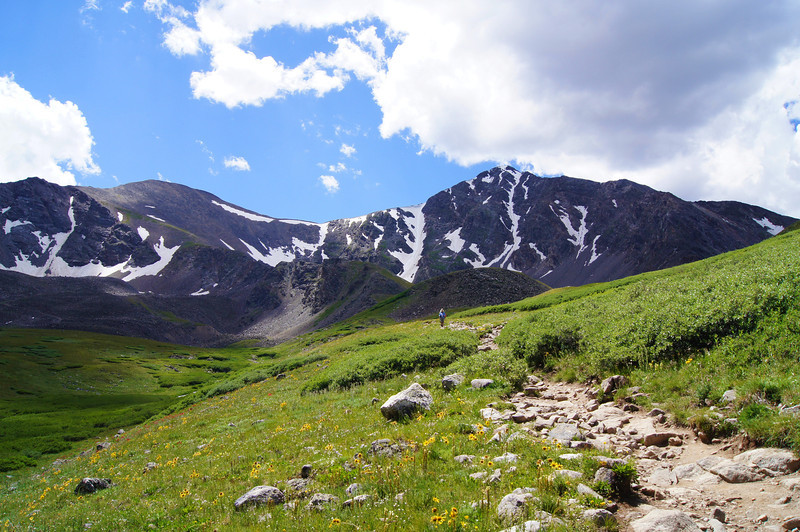 Along the trail in the northeast basin of Grays and Torreys Peaks, Colorado Front Range.