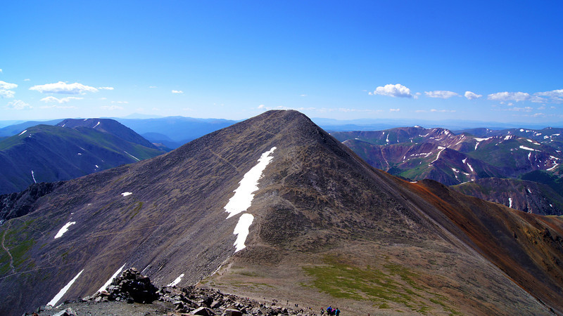 Grays Peak and the winding trails on its east face and north ridge, Colorado Front Range.