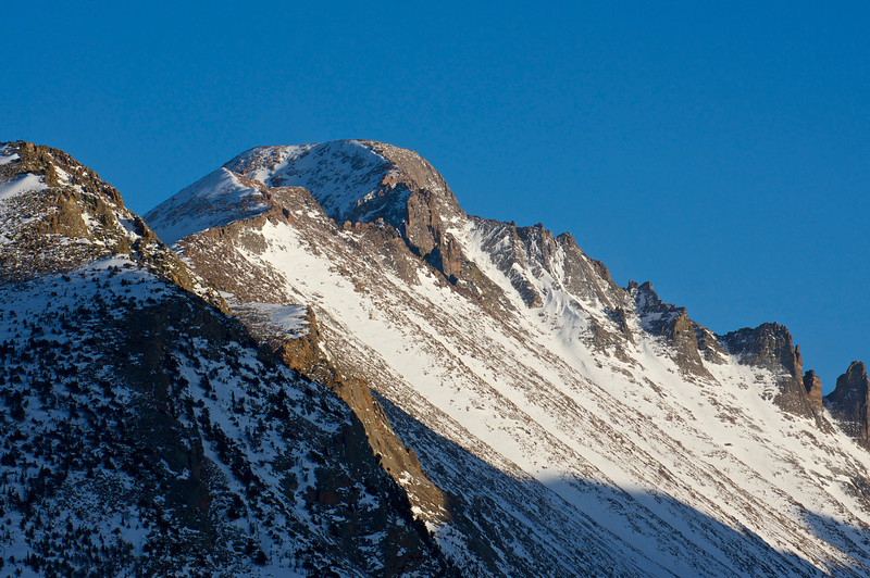 Longs Peak's northwest face in mid spring; Rocky Mountain National Park.