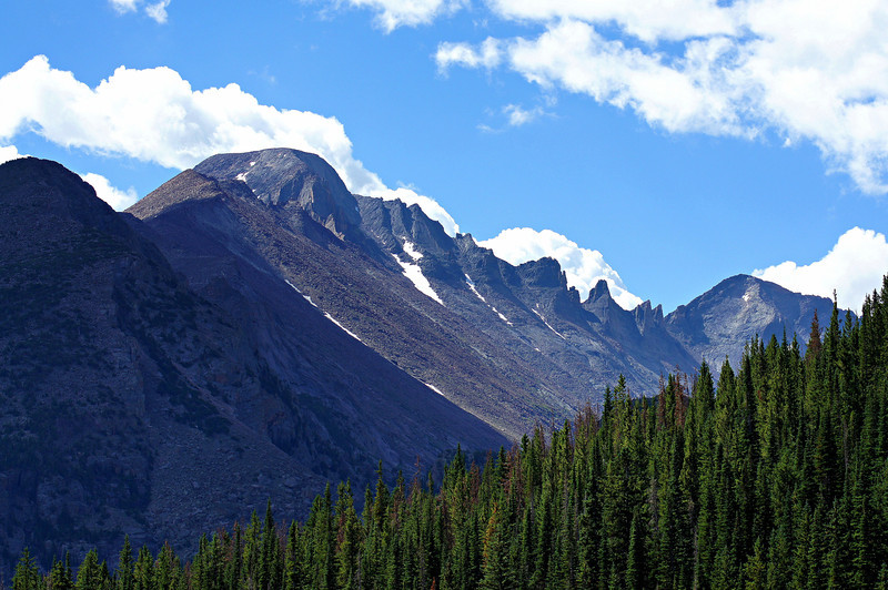 Longs Peak's west face and southwest ridge, viewed from Bear Lake; Rocky Mountain National Park, Colorado.
