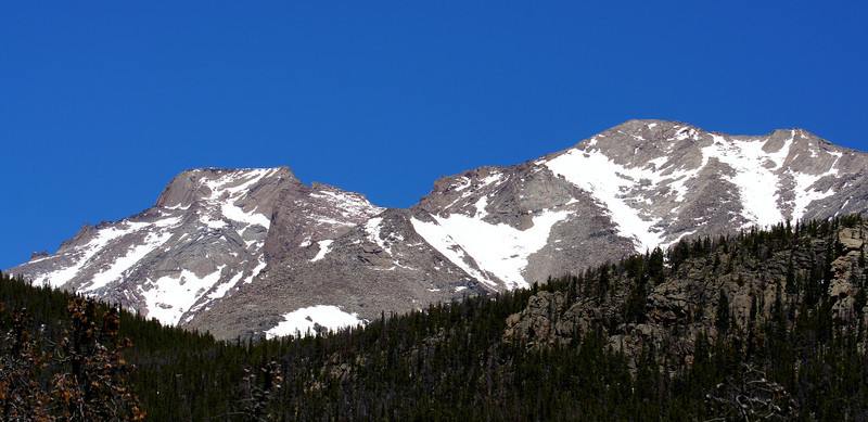 Longs Peak (14,255 ft.) and Mount Meeker, viewed from the Ouzel Falls trail; Rocky Mountain National Park, Colorado.