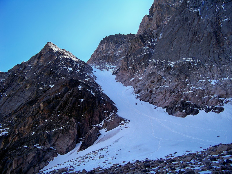 Snow couloir on the Keiners route from the base of the Diamond Face, Longs Peak; Rocky Mountain National Park