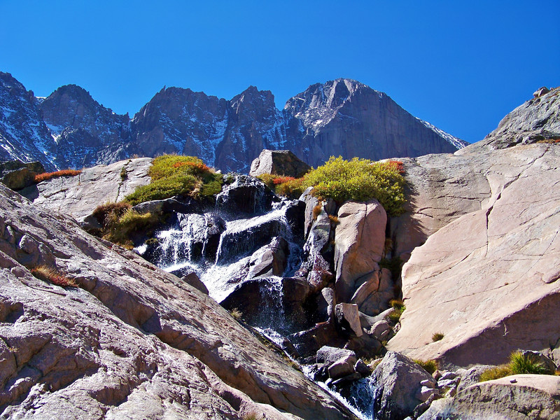 "Columbine Falls beneath the Longs Peak ""Diamond Face,"" Rocky Mountain National Park"
