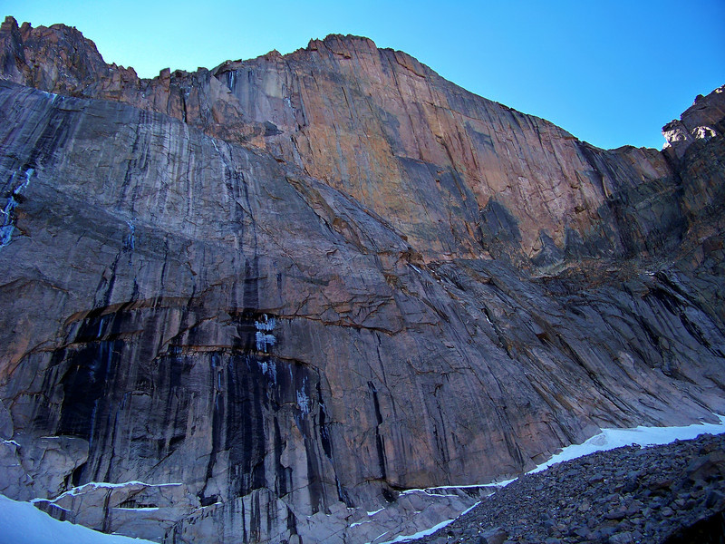"""The imposing """"Diamond Face"""" of Longs Peak towers 2000 feet over Chasm Lake; Rocky Mountain National Park"""