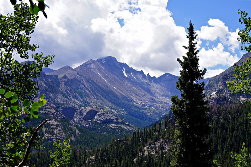 Longs Peak's west slopes, viewed from the trail to Dream Lake; Rocky Mountain National Park, Colorado.