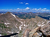 """A view of Mt. Bierstadt, the """"sawtooth"""" ridge, Abyss Lake, and the distant Grays and Torreys Peaks, seen from the Mt. Evans west ridge, Colorado Front Range."""