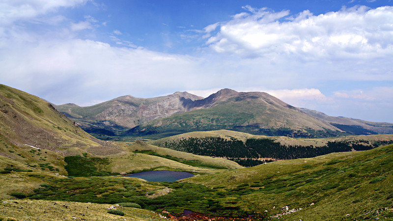 Wide view of Mt. Evans and Mt. Bierstadt from the upper Squaretop Mountain Lake, directly to the west; Colorado Front Range.