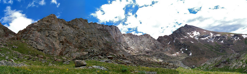 The Sawtooth Ridge and northwest face of Mt. Bierstadt, Colorado Front Range.