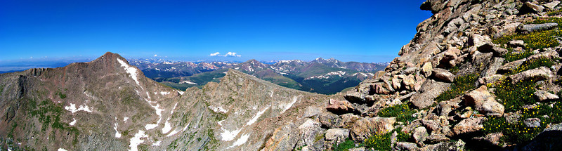 Panoramic view of Mt. Bierstadt with Grays and Torreys Peaks in the distance; seen from the upper west ridge of Mt. Evans, Colorado Front Range.