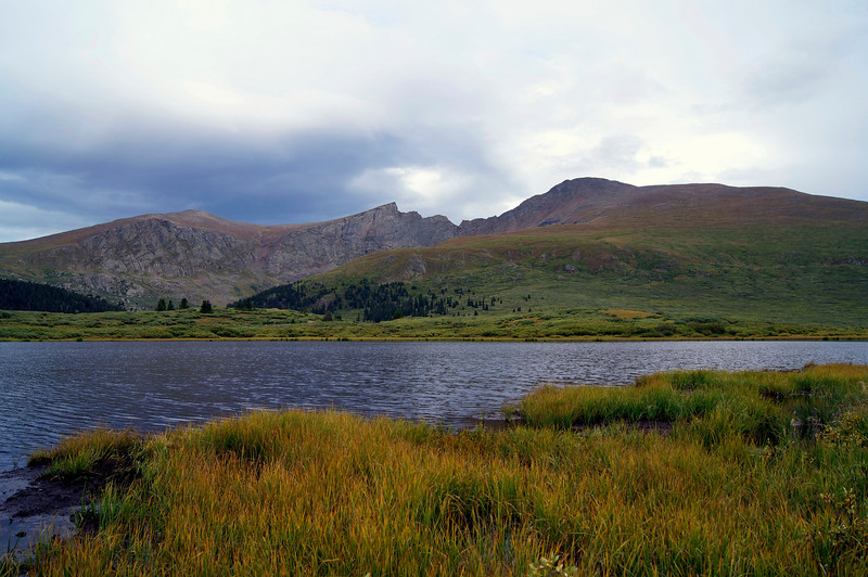 Mount Bierstadt and the Sawtooth ridge viewed from the western shore of the small lake below the trail head; Colorado Front Range