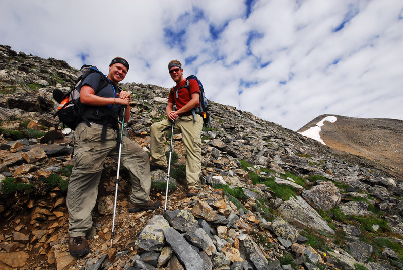 Two Gents on the upper steep part of trail. These guys drove down from WY. They camped and hit the trail. This was there first 14er! Congrats guys. They had great attitudes, were very friendly and were a pleasure to talk with.  It was good to meet you.