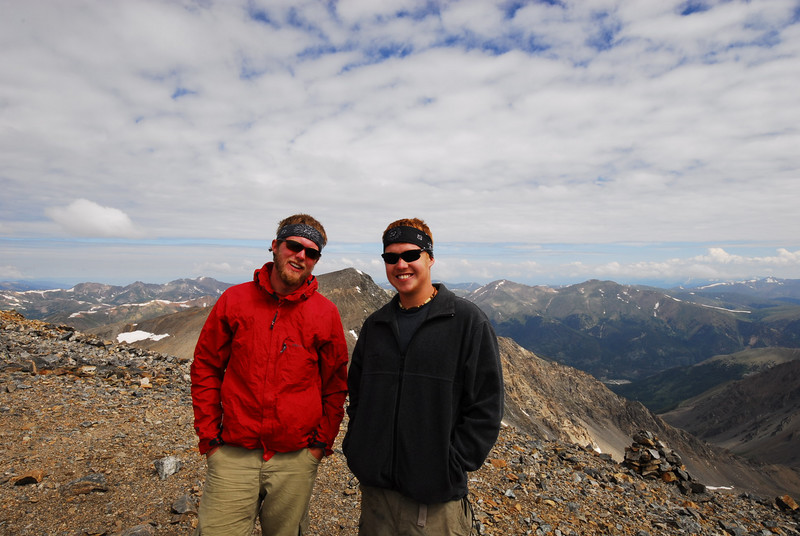 Atop Grays Peak elev. 14,270ft. with Torrey's Peak between them.