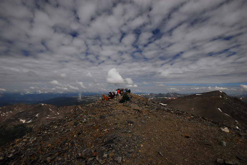 The weekend crowd...<br /> <br /> Atop Grays Peak looking NNW with Torrey's Peak in foto to the right.