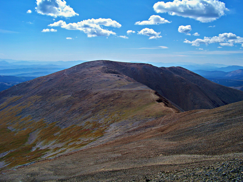 Meandering trail segments lead to the summit of Mt. Bross, Colorado Mosquito Range.