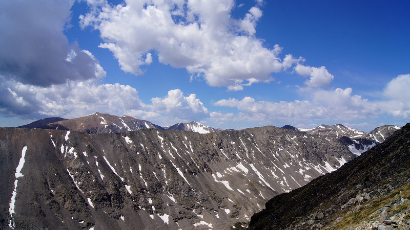 The Mosquito range (Mounts Lincoln, Bross and Democrat) appear over the ridge south of Quandary Peak.