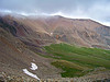A curtain of low storm clouds drifts across Mt. Bross, Colorado Mosquito Range.