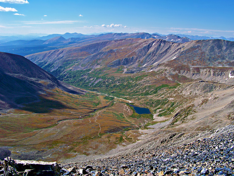 Kite Lake, seen from the Mt. Democrat-Mt. Lincoln saddle, lives up to its name; Colorado Mosquito Range.
