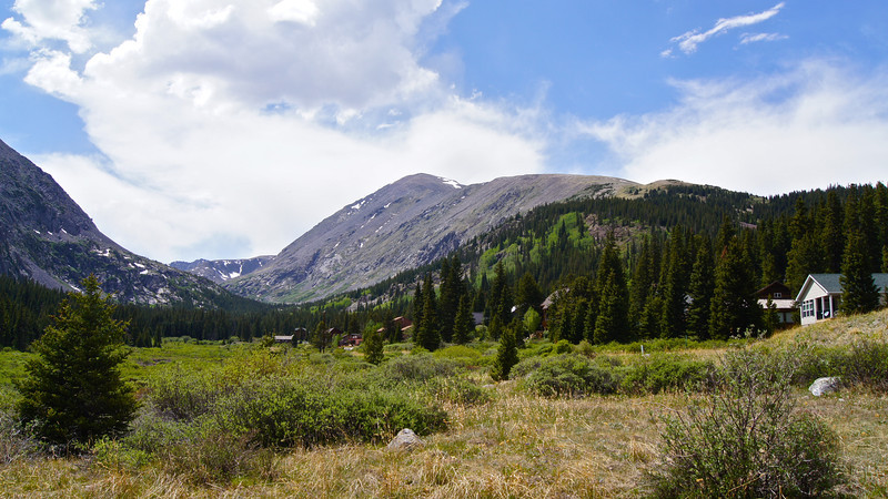 The southeast face and east ridge of Quandary Peak, viewed from Hoosier Pass; Colorado Tenmile Range.