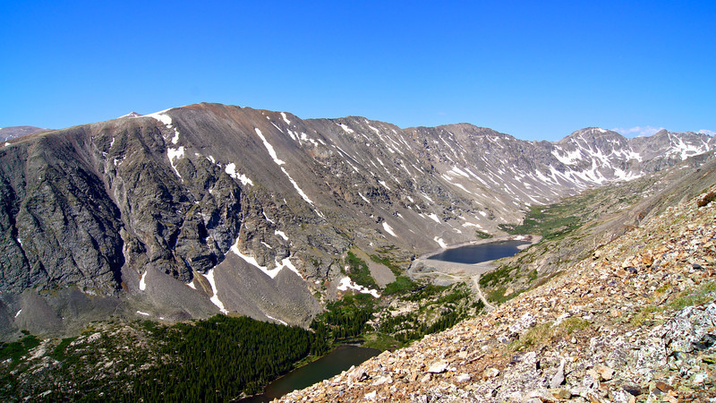 Blue Lakes and Northstar Mountain viewed from the east ridge of Quandary Peak; Colorado Tenmile Range.
