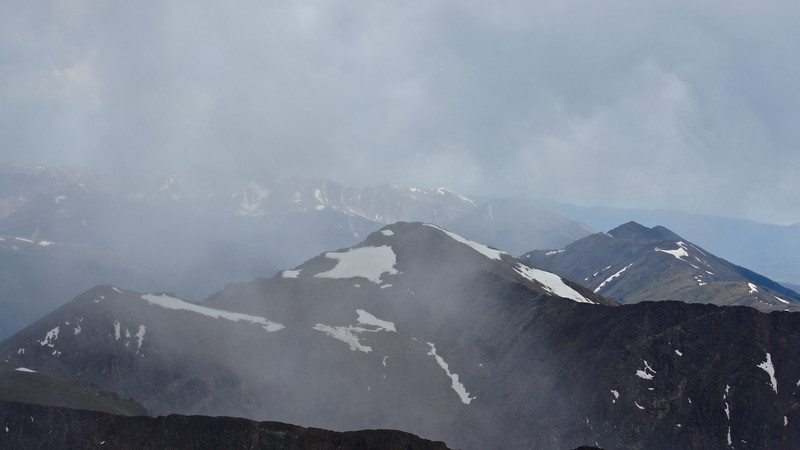 A storm passes over the Pacific Peak and the Tenmile Mile range; viewed from the summit of Quandary Peak; Colorado.