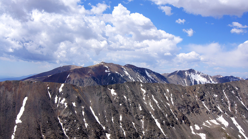 The Mosquito range (Mounts Lincoln, Bross and Democrat) appear over the ridge south of Quandary Peak; Colorado Tenmile Range.
