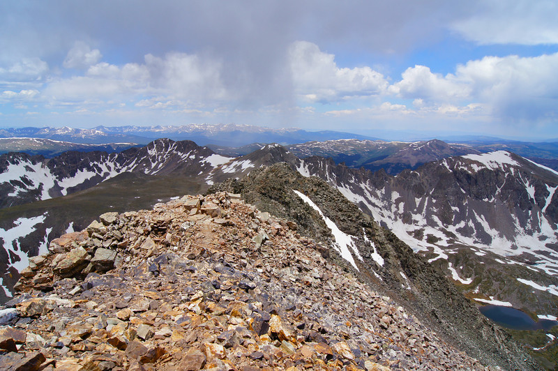 The relatively rugged west ridge viewed from the summit of Quandary Peak; Colorado Tenmile Range.