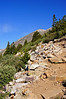The well-established trail near treeline just below the east ridge to Quandary Peak; Colorado Tenmile Range.