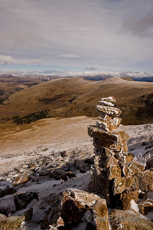 Here is one of my favorite cairn captures, it would not have been as good (IMHO) without being a stop under.  There is something amazingly peaceful and rugged about this shot.