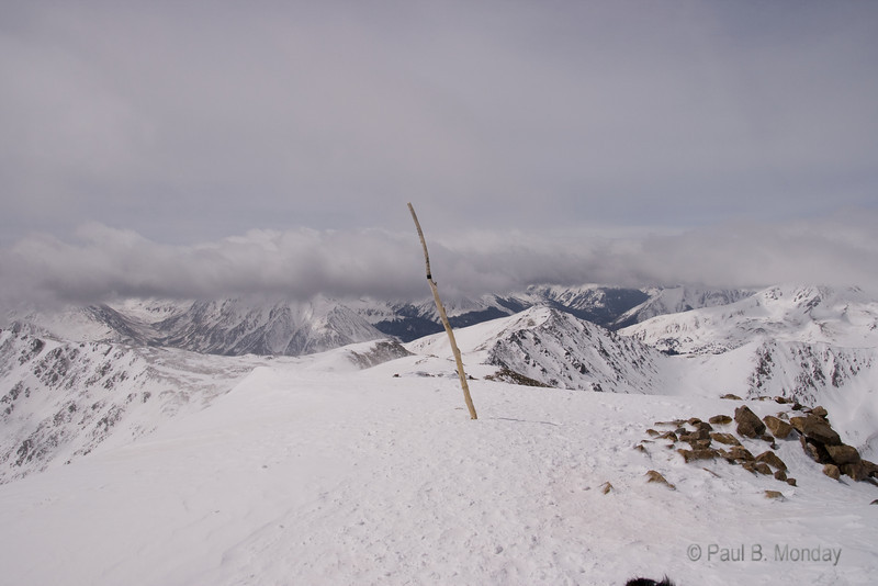 Top of the world (at least, Colorado).  This is looking out with South Mount Elbert on the left.