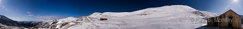 Panorama shot at the mining camp on Mt. Sherman.  The route up Sherman is back and to the left of the shack.