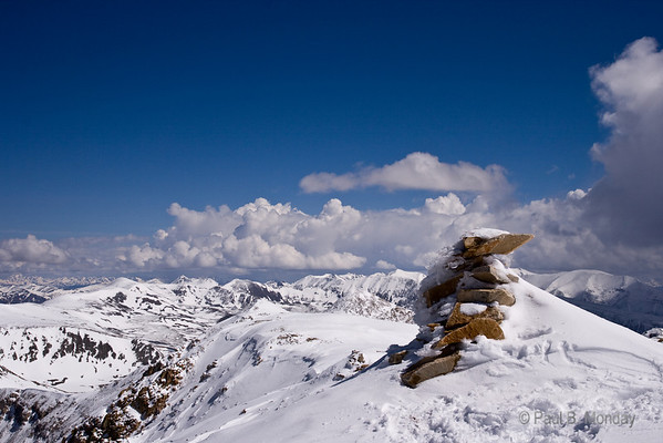 Here's a cairn at the summit of Mt. Sherman.  I'm always drawn to the cairns weathered but resilient look.
