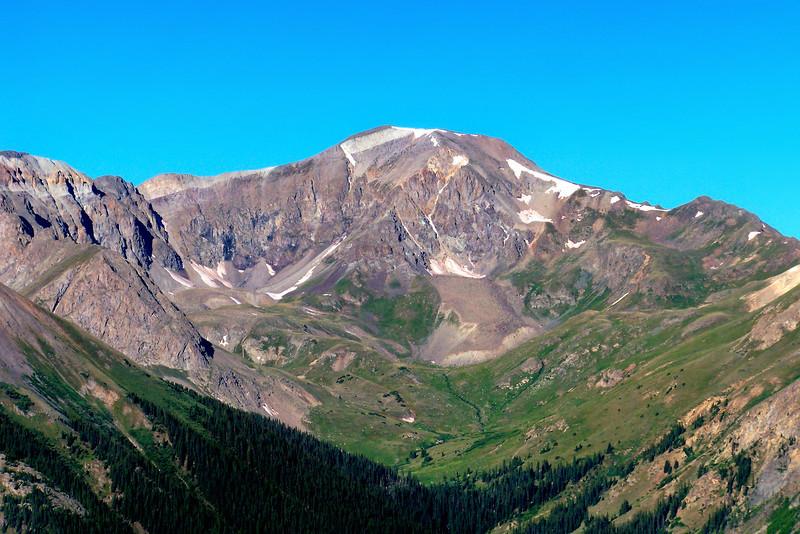 The north face of Handies Peak (14,048 ft.), viewed from Silver Creek; Colorado San Juan Range.