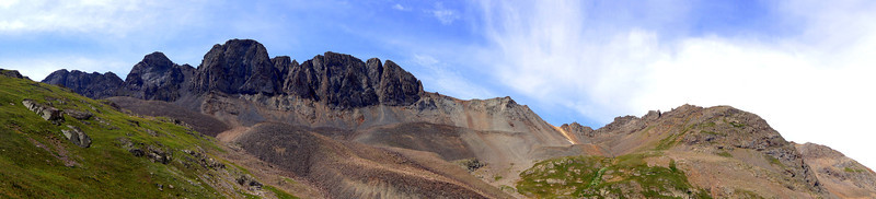 Panoramic view to the southwest from the American Basin beneath Handies Peak; Colorado San Juan Range.
