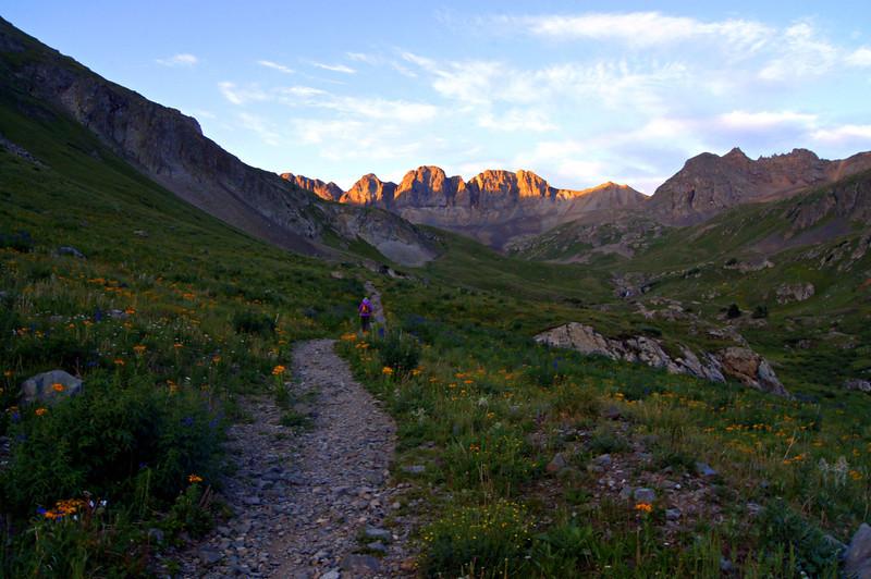 Sunrise alpenglow at the head of the American Basin beneath Handies Peak; Colorado San Juan Range.