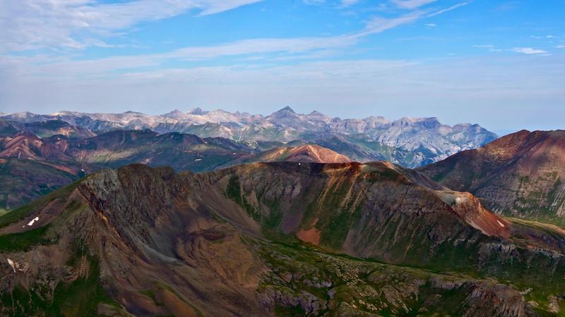 The view west toward Mount Sneffels and Dallas Peak from the summit of Handies Peak; Colorado San Juan Range.
