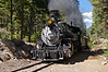 The Durango and Silverton Narrow Gauge steam locomotive stops at Needleton, deep in the Weminuche Wilderness, to pick up backpackers; Colorado San Juan Range