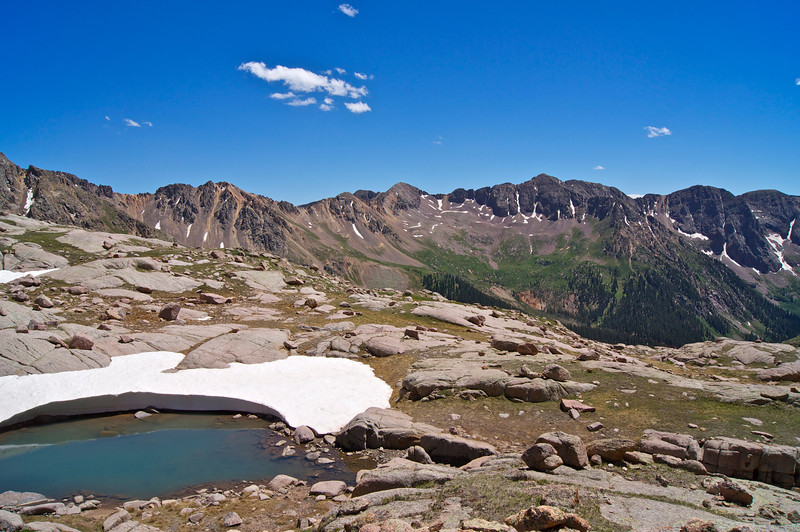 And icy pool at the south end of Twin Lakes high in the Chicago Basin; Colorado San Juan Range