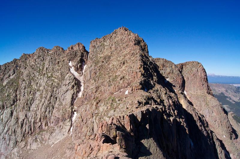 Mount Eolus (14,083 ft.) and famous Catwalk ridge; Colorado San Juan Range