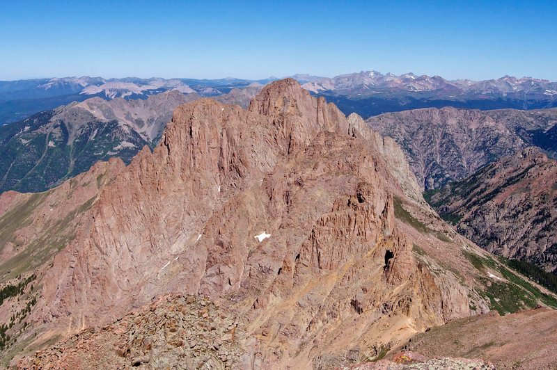 Almost a 14er, Pigeon Peak (13,972 ft.) as seen from the summit of Mount Eolus; Colorado San Juan Range