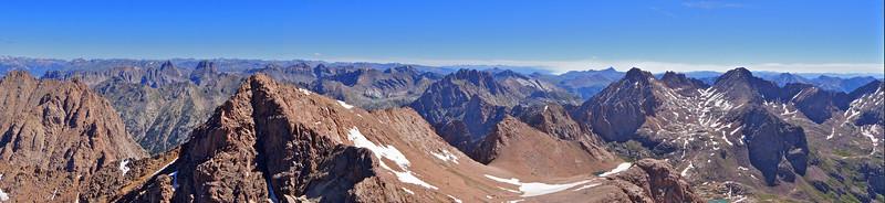 Panoramic view northeast from the summit of Mount Eolus; Colorado San Juan Range