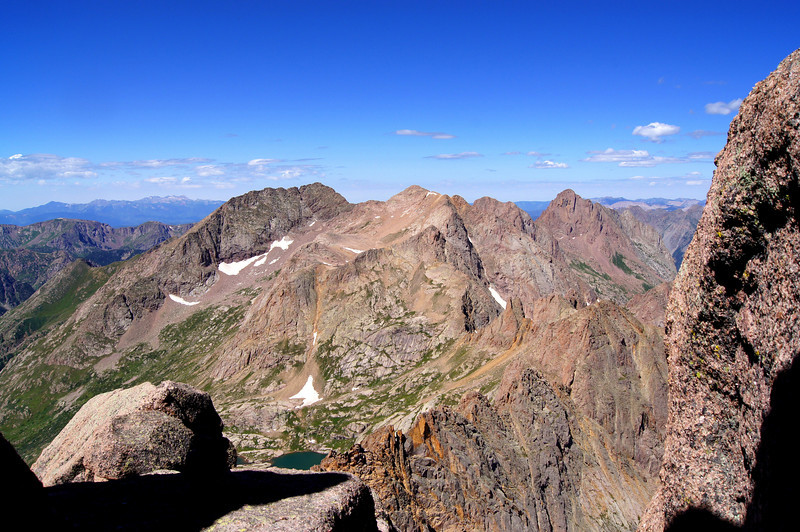 Mt. Eolus (14,083 ft.) viewed from the summit of Sunlight Peak; Colorado San Juans. Colorado San Juan Range