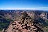 Looking south across the ridge line to south summit of Mount Eolus; Colorado San Juan Range