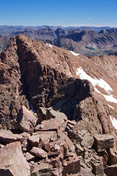 The narrow and intimidating ridge line between Mount Eolus and North Eolus.  Note the hikers crossing the Catwalk; Colorado San Juan Range
