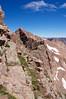 Looking across the vertical East Face of Mount Eolus toward North Eolus; Colorado San Juan Range
